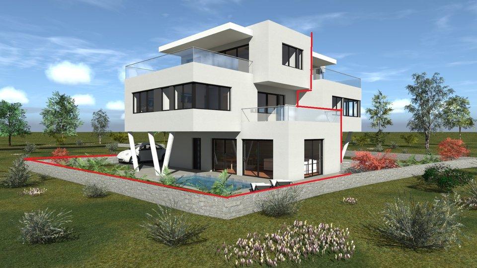 Moderna dvojna kuća cca 200m od mora -sa pogledom na more
