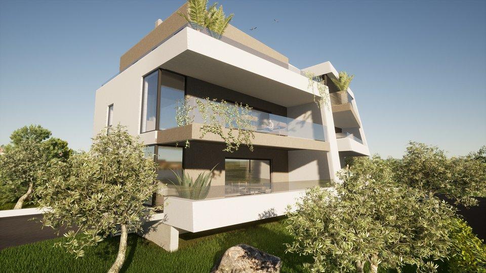 Luxus-Penthouse-Wohnung mit geräumigen Dachterrassen, Garage und Abstellraum, nah am Meer und Strand