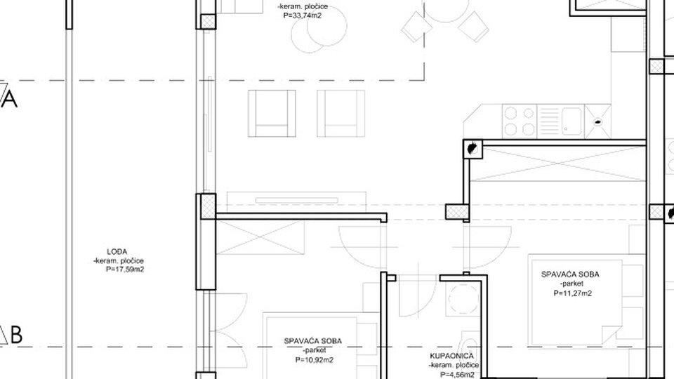 Neu gebaute Wohnung mit zwei Schlafzimmern im 1. Stock mit Meerblick